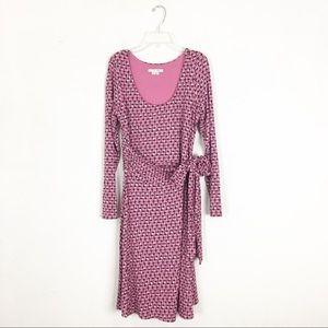 Boden Long Sleeve Pink Geometric Print Dress 10P